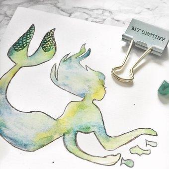 Mermaid, Watercolour, Paint, Artistic, Artwork