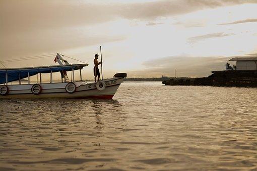 Amazon, Rio, Boat, Landscape, Water, Horizon, Brazil