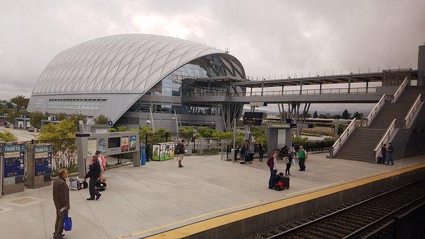 Anaheim, Train, Station, Building, Bus, Transportation