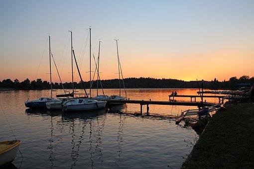 Summer Evening, Sunset, Silent Lake, Sky, Evening, Sun