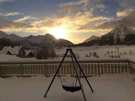 Sunset, Winter, Mountain, Clouds, Sky, Bålpanne