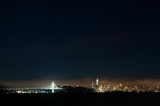 San Francisco, Bay Bridge, Night, Usa, Architecture