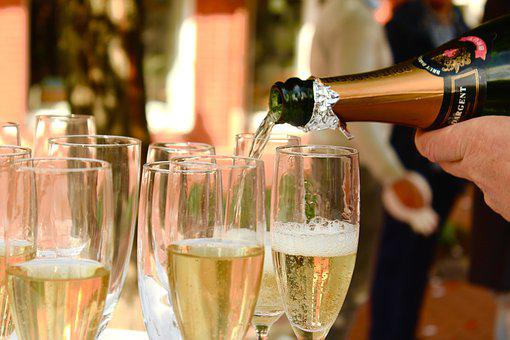 Champagne, Pour A, Serve, Mineral Water, Festival