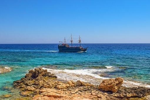 Rocky Coast, Sea, Horizon, Pirate Ship, Nature, Blue