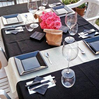 Table, Chic, Rose, Details, Dinner, Romantic