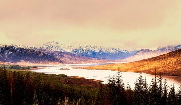 Scotland, River, Lake, Sky, Clouds, Sunset, Dusk