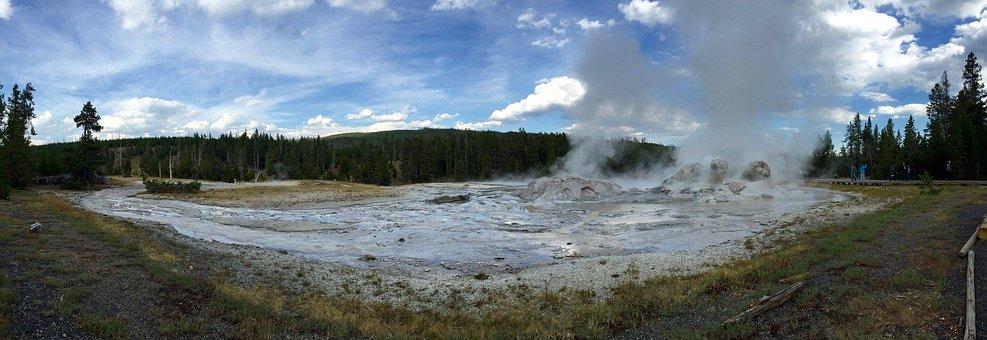 Yellowstone, Geyser, Steam, National, Park, Wyoming