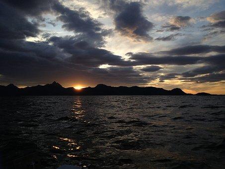 Sea, Sunset, Clouds, Boat Life, The Coastal, Norwegian