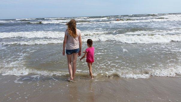 Girl, Beach, Sea, Water, Holiday, Leisure, Human