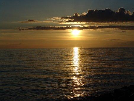 Sunset, Water, Abendstimmung, Sea, Lake, Afterglow