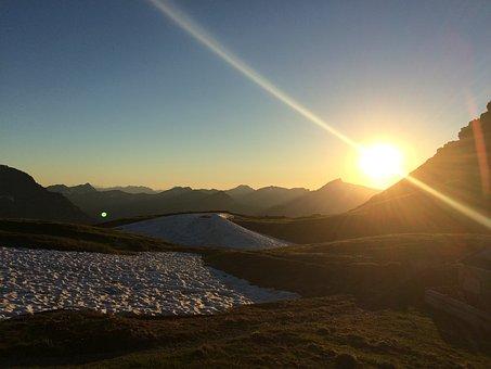 Sunset, Mountains, Landscape, Dusk, Alpine