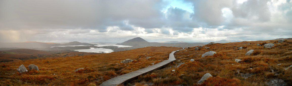 Panorama, Landscape, Ireland, Bleak, Path, Hike