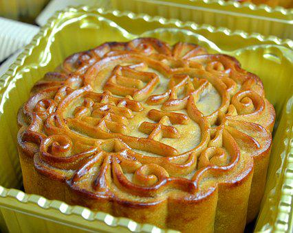 Mooncake, Lotus Filling, Pastry, Sweets, Asian