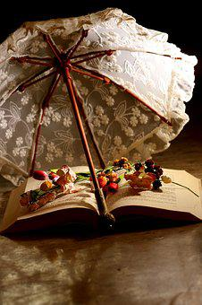 Parasol, Book, Reading, Flowers