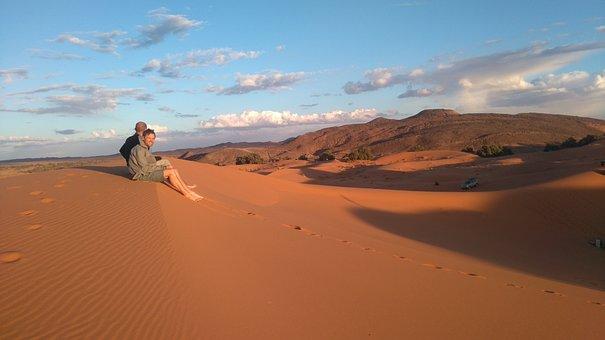 Landscape, Sun, Nature, Lying Sun, Sahara, Desert