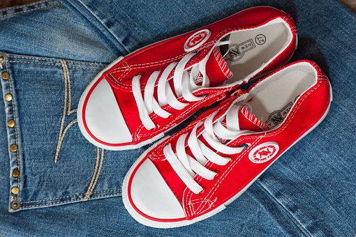 Gym Shoes, Red, Shoe Laces, Bright, Beautiful, Sneakers
