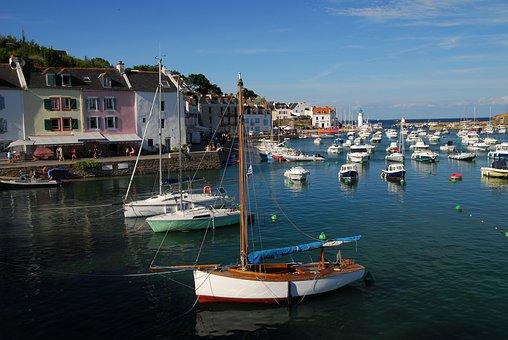 Port, Boats, Brittany, Sauzon, France, Holiday, Sea