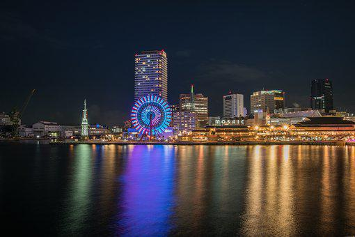 Kobe, Japan, Port, Tower, City, Osaka, Night, Skyline