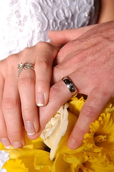 Hands, Marriage, Rings, Wedding, Daffodils, Commitment