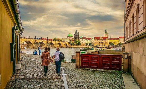 Prague, River, Bridge, Vltava, Czech, Couple, Beautiful