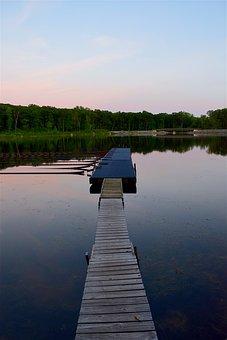 Dock, Lake, Sunset, Water, Landscape, Sky, Nature