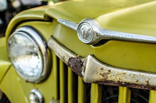 Old, Car, Gree, Grill, Light, Front, Antique, Vintage