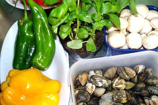 Vegetables, Mushrooms, Vongole, Cooking, Fresh, Healthy