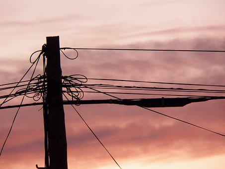 Wires, Sunset, Electricity, Sky, Lines, Power, Cables