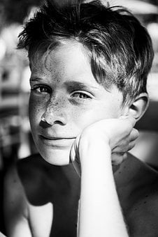 Freckles, Boy, Young, People, Satisfied, Portrait, Eyes