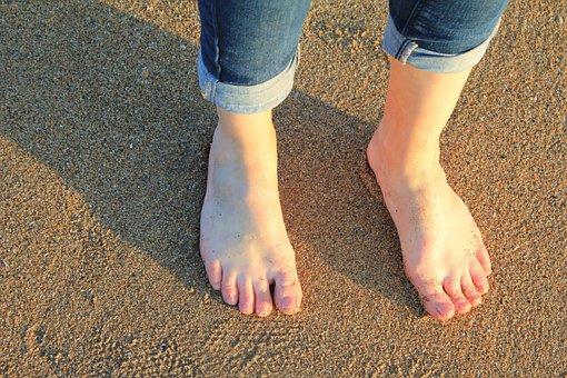 Feet, Sand, Beach, Barefoot, Woman, Female, Girl
