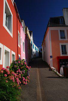 Sauzon, Brittany, Belle-ile-en-mer, Side, Sky, Blue
