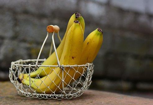 Bananas, Fruit, Fruit Basket, Yellow, Healthy, Vitamins