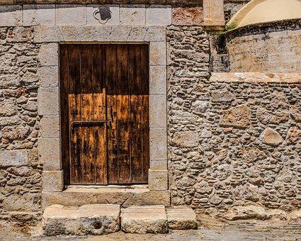 Door, Wooden, Wall, Entrance, Yard, Church
