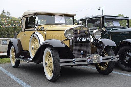 Car, Old Car, Older Vehicles, Vintage, Yellow