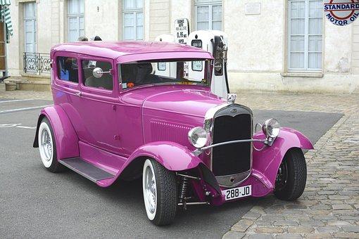 Car, Pink, Retro, Auto