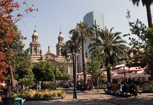 Square, Santiago, Chile, Downtown, City, Architecture