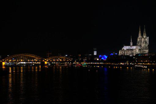 Cologne, Night, Hohenzollern Bridge, Rhine, Dom