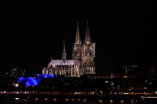 Cologne, Dom, Cologne Cathedral, Night, Illuminated