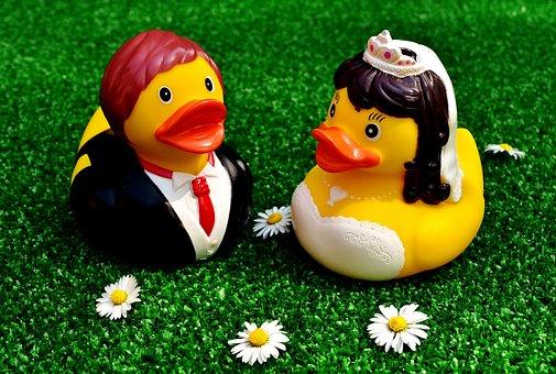 Rubber Ducks, Wedding, Bride And Groom, Funny, Marry