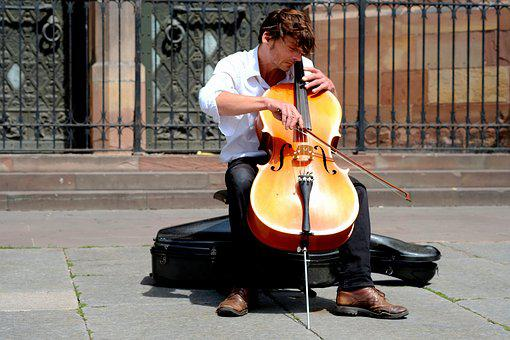 Musician, Chello, Arch, Violin Bow, Close, Portrait