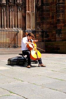 Musician, Chello, Arch, Violin Bow, Strasbourg