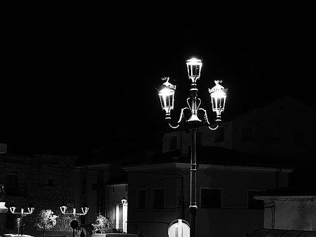 Black And White, Street Lamp, People