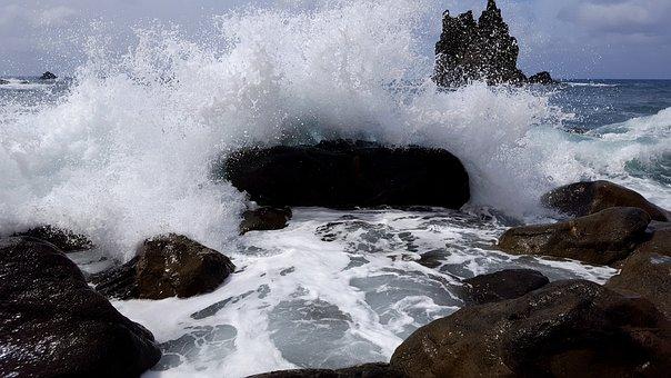 Sea, Wave, Water, Stone Beach, Rocky Bay, Tenerife