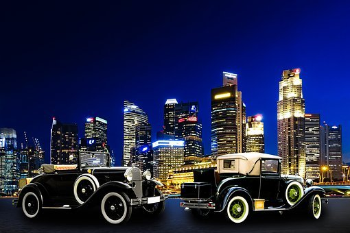Architecture, Traffic, Skyline, Singapore, Oldtimer
