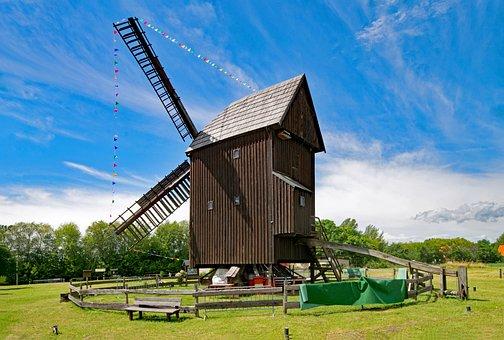 Post Mill, Zwochau, Saxony, Germany, Windmill, Mill