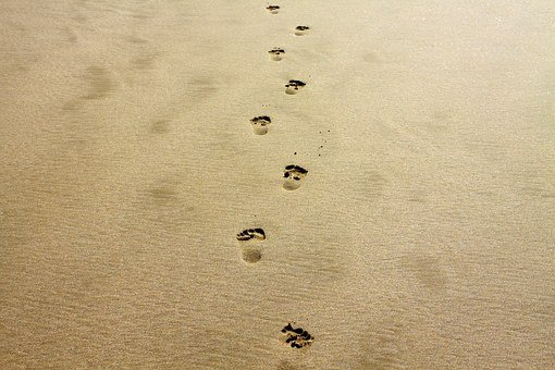 Footprint, Sand, Alone, Vacation, Coast, Beach, Nature