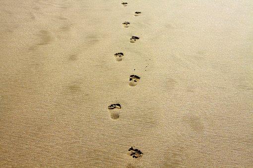 Footprint, Sand, Alone, Vacation, Coast, Beach, Nature