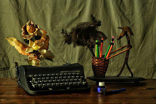 To Write, Machine, Desk, Flowers, Letters, Ink, Writing