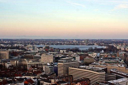 Alster, Hamburg, Panorama, From Michel, Abendstimmung