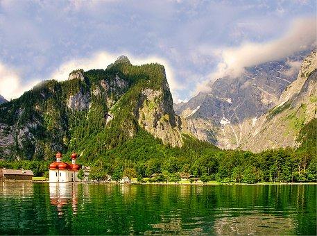 Bartholomä St, Königssee, Alpine, Water, Nature, Lake